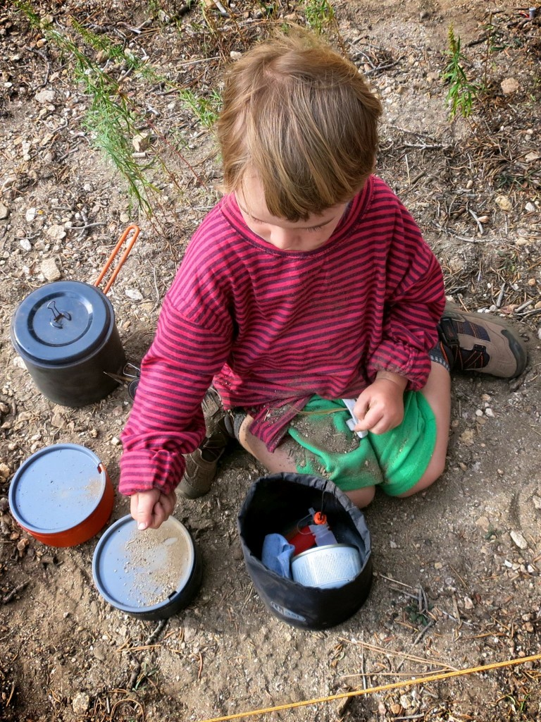 Gabriel making some dirt soup