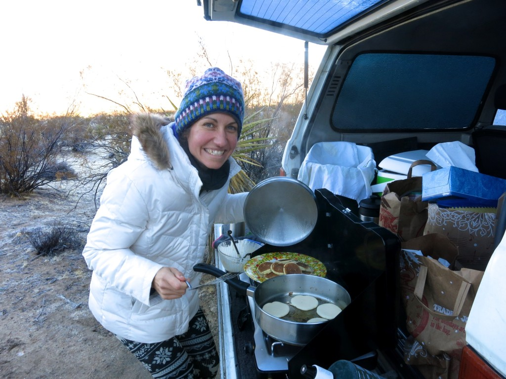 Fresh cooked pancakes for breakfast at camp!