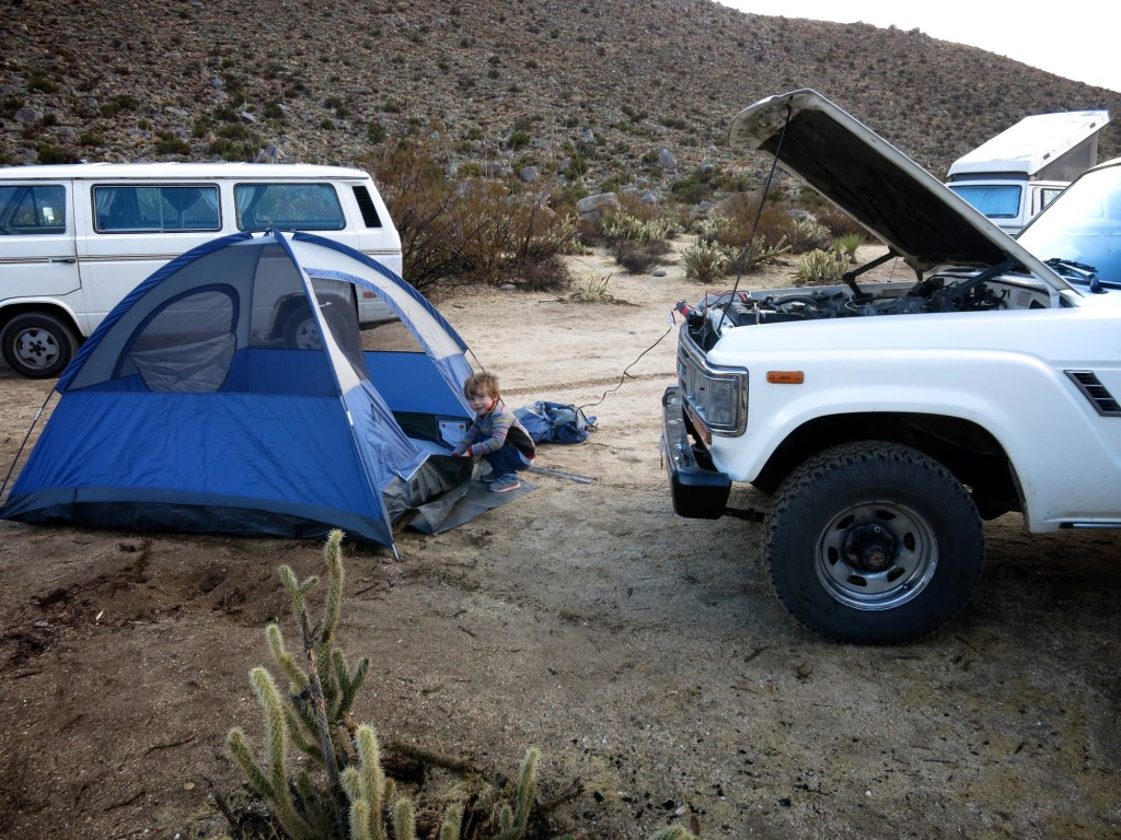 Our campsite, with the lovely scenic view of the front of the car