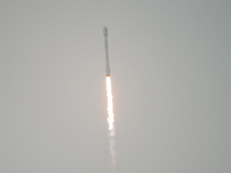 The SpaceX Falcon 9 rocket we heard but didn't see. Photo Credit: (NASA/Bill Ingalls)
