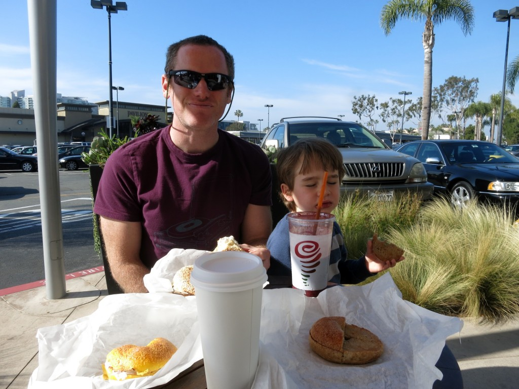 Bagels and smoothie at Marina del Rey